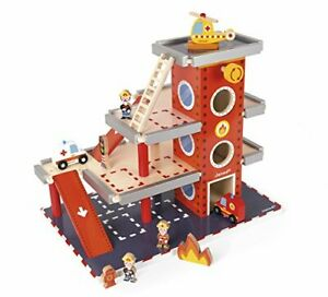 Janod Wooden Fire Station Playset – 3-Level with Figures & Vehicles Included ...