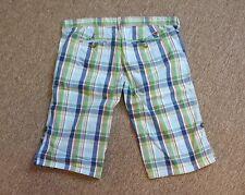 HOLLISTER Bermuda Shorts Size 3 Juniors Blue Green White Red Plaid Walking