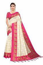 Indian Pakistani Mysore Silk Saree border tassels Sarees with Blouse Sale Sari