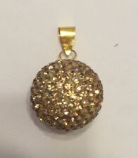 Rhinestone Orb Pendant with Gold Clasp -Brown Crystal Ball Pendant