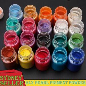 24PCS Pearl Pigment Powder for Epoxy Resin Floors Metallic Dye Ultra Mixed Color