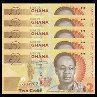 UNC P-37A Ghana 2 Cedis Banknote Lot 10 PCS 2014