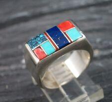 MS Artisan Signed Zuni Indian 925 Sterling Silver Mosaic Inlay Inlaid  Ring 6