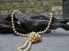 Vintage Yellow Plastic Gold pearl Necklace Costume Jewellery