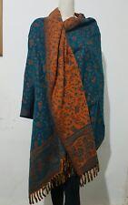 UNISEX Tibetan 100% Yak Wool Shawl,WRAP,Ethical Hand loomed ReversableTEAL scarf
