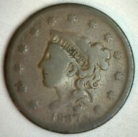 1837 Coronet Large Cent US Copper Type Coin Very Good M9 Genuine US Penny