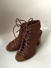 Forever21 Lace-Up Peep Toe Booties NEW, 3.5UK