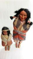 ANTIQUE SKOOKUM NATIVE AMERICAN INDIAN DOLLS, SET OF 2, SWEET!!