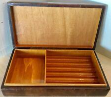 vintage cigar brown wood & leather box display