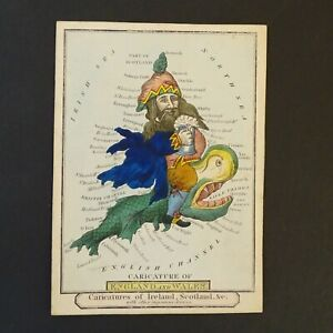 after Robert Dighton W. Snow c.1815 antique Britain caricature droll map