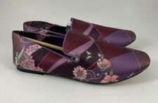 Zara Home Loungewear Slippers Shoes Smoking Flats Purple Floral Silky Size 38