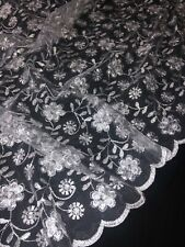 "white and black floral lace dress fabric// material 54/"" width  A1024 Pale pink"