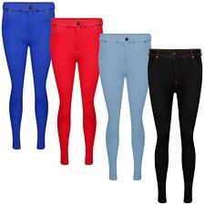 Ladies Plain Skinny Jeggings Coloured Denim Pants Stretch Jeans Trousers Pockets