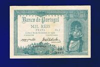 PORTUGAL  1000 Reis 1910 (1917) PIC106 VERY FINE  ULTRA SCARCE GRADE