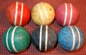 """6 OLD VINTAGE WOOD CROQUET GAME BALLS 2 stripes OLD CHIPPY PAINT 9-1/2"""" AROUND"""