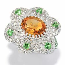 Victoria Wieck Collection Sterling Silver 4.10ctw Citrine & Gem Flower Ring