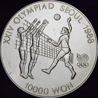 1987 Proof Vollyball MS South Korea Silver 10000 Won - KM# 63