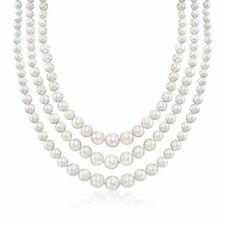 Concha de perla graduado de 6-12mm tres Collar con plata esterlina
