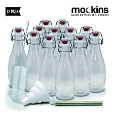 Mockins Set of 12 - 8.5 Oz. Reusable Clear Glass Bottles with Swing Top Stoppers
