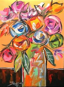 Broadway Original Abstract Acrylic on Canvas 6x8 in. Floral painting