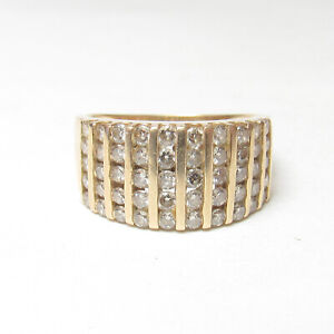 Estate 14K Yellow Gold 50 Round Brilliant Cut Diamond Cluster Ring 1.00 Ct