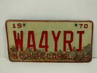 Vintage 1970 North Carolina License Plate WA4YRI