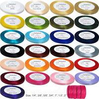 "Satin Ribbon - Choose Color & Size: 1/4"",3/8"",5/8"",3/4"",1"",1.5"" & 2"" - 25 yds"