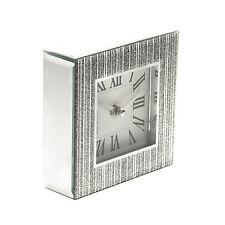 Modern Wall Mantel Clock Silver Glitter Glass New  Free Post