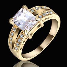 Stunning Square White Sapphire Wedding Band Ring Yellow Rhodium Plated Size 9