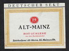 ALLEMAGNE / ETIQUETTE Ancienne de VIN Mousseux / ALT-MAINZ / ROT-AUSLESE