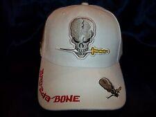 Bad to the Bone Skull Knife Ball Cap Hat in White H25