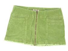 Vans Women's Mini Skirt Size 7 Green Denim Full Front Zip Pockets Vintage VTG