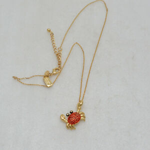 Kate Spade New York Jewelry Cut Crystals Crab Pendant Necklace Red Cut Crystals