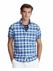 RALPH LAUREN Mens Blue Plaid Short Sleeve Collared Classic Button Down Shirt M