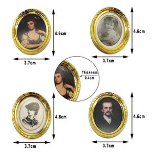 4x Dollhouse Picture Frames Miniature Accessories for 1:12 Doll House Decoration