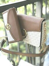MICHAEL KORS WOMEN LEATHER BAG CROSSBODY HANDBAG PURSE MK VANILLA +FULTON WALLET