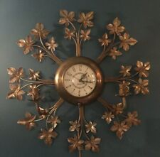"""Vintage Sessions Clock Co NY Wall Clock with brass Leaves & 2 Lights 24"""" *AS IS*"""