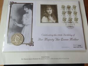 2000 SILVER PROOF £5 COIN COVER + INFO COVER QUEEN MOTHER 100th BIRTHDAY. PNC
