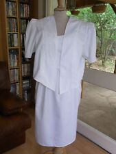 TAILLEUR ROBE + VESTE Raymond Attal  BLANC T40 VINTAGE 80 WHITE DRESS SUIT siz M