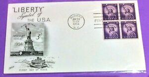 FDC #1035,1954 Liberty Series- 3¢ Statue of Liberty Blk 4, Cacheted Fleetwood CV