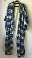 Vtg Japanese Kimono CUTTER CLOTH DAMAGED Blue White Military Mountains Cotton