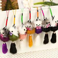 1x Pompom Faux Mink Fur Fox String Keychain Tassel Bag Car Pendant Key Ring 10cm