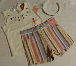 GYMBOREE Girls Size 3 Glamour Safari Striped Shorts Shirt Headband Outfit NWT