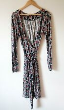 French Connection Wrap Dress Size 10 Multi Pattern Stretch Jersey Long Sleeve