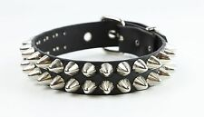 Double Dome Stud Leather Choker Necklace Fetish Dog Collar Punk Gothic Rock