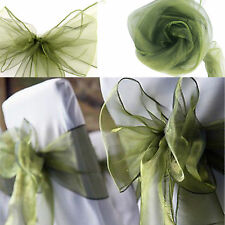 50Pcs Olive Green Organza Chair Sashes Bow Wedding Party Home Favors Dinner