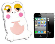 COVER FLIP COMPATIBLE FOR IPHONE 4 FROG FROG RUBBERY WHITE
