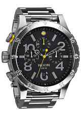 US NEW NIXON 48-20 Chrono Black Silver Watch A486-000 A486000