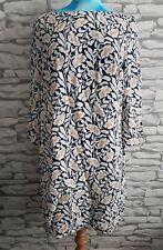Autograph M&S Ladies Blue Mix floral Lined 3/4 Sleeve Shift Dress Size 14 uk