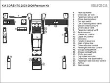 PREMIUM WOOD DASH TRIM KIT 25 PCS FITS KIA SORENTO 2003-2006 ANY COLOR